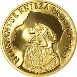 Commemorative gold coin, 100EUR The Prince Pribina from Nitra - 1150th anniversary of his death